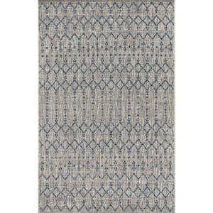 Ourika Moroccan Light Gray/Navy 3 ft. 11 in. x 6 ft. Geometric Textured Weave Indoor/Outdoor Area Rug