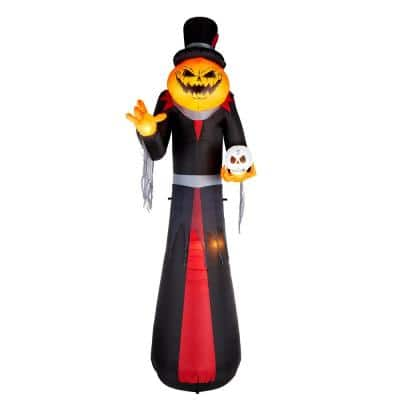 12 ft. Giant- Sized Pumpkin Head Reaper with Top Hat Airblown Halloween Inflatable