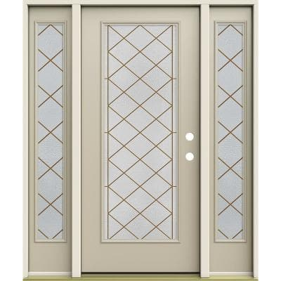 60 in. x 80 in. Left-Hand/Inswing Full Lite Sardis Decorative Glass Desert Sand Steel Prehung Front Door with Sidelites