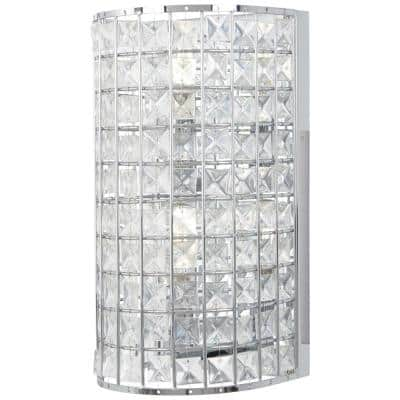Palermo 2-Light Chrome Wall Sconce with Clear Crystal Glass Shade
