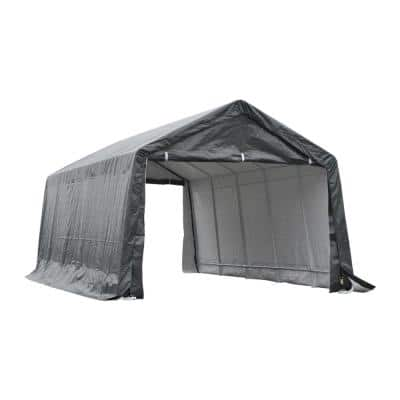 12 ft. x 20 ft. x 9 ft. Grey Roof PE Carport Canopy Tent with Durable Construction and A Simple Setup