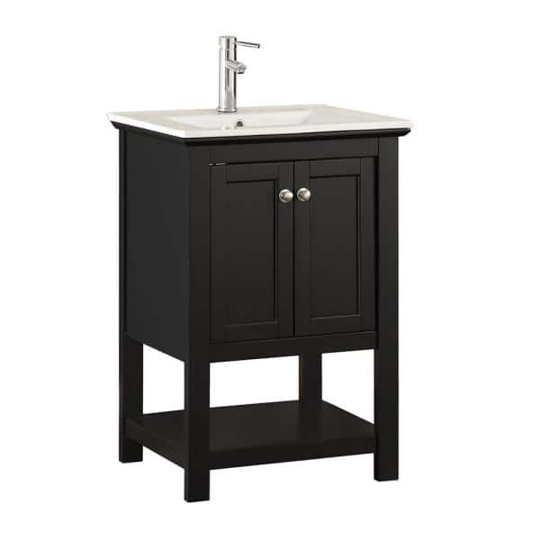 Fresca Bradford 24 In W Traditional Bathroom Vanity In Black With Ceramic Vanity Top In White With White Basin Fvnhd0104bl Cmb The Home Depot