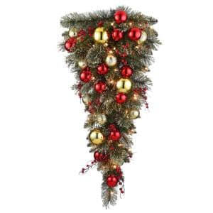36 in. Dakota Pine Tear Drop with and 50 Warm White Battery Operated LED Lights with Timer