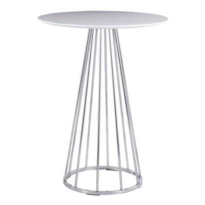 Canary 27 in. Round White Wood & Chrome Counter Table (Seats 2)