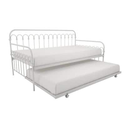 Bright Pop White Metal Twin Daybed with Trundle