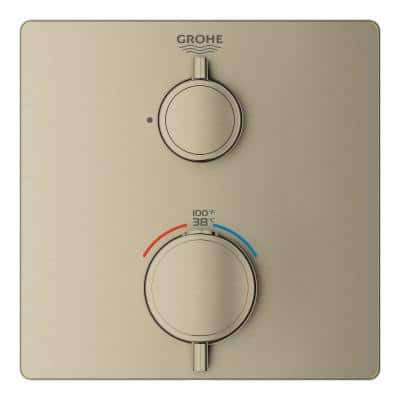 Grohtherm 2-Handle Wall Mount Single Function Thermostatic Square Trim Kit in Brushed Nickel (Valve Not Included)