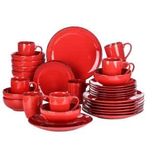 Navia Tropical Red 32-Piece Ceramic Dinnerware Set with Dinner Plate, Dessert Plate, Cereal Bowl and Mug (Service for 8)