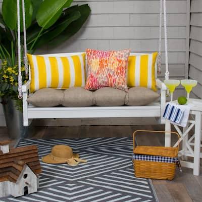 44 in. x 18.5 in. x 6 in. Sahara Outdoor Tufted Rectangular Loveseat Cushion in Beige