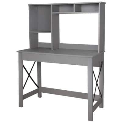 Alan 41.34 in. Gray Wood Writing Desk with Hutch