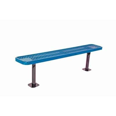 6 in. Diamond Blue Commercial Park Bench without Back Surface Mount