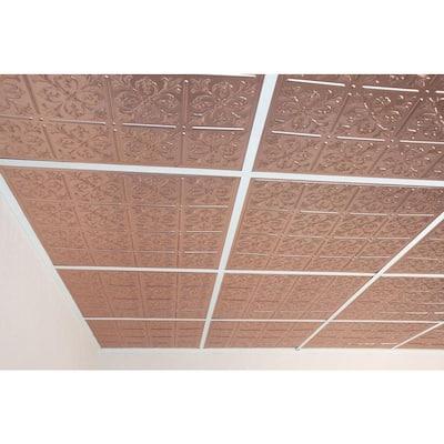 Fleur-de-lis Faux Copper 2 ft. x 2 ft. Lay-in or Glue-up Ceiling Panel (Case of 6)