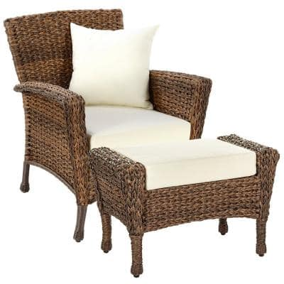 Rustic 2-Piece Wicker Patio Conversation Set with Beige Cushions