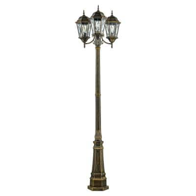 Villa Nueva 96 in. 3-Light Black Gold Outdoor Lamp Post Light Set with Stained Glass