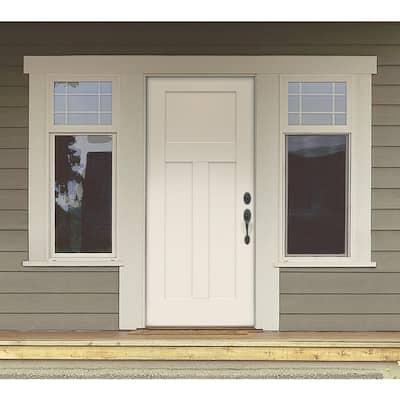 32 in. x 80 in. 3-Panel Craftsman Primed Steel Prehung Left-Hand Inswing Front Door