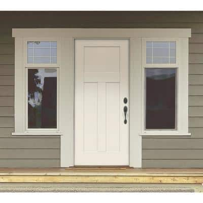 32 in. x 79 in. 3-Panel Craftsman Primed Steel Front Door Slab