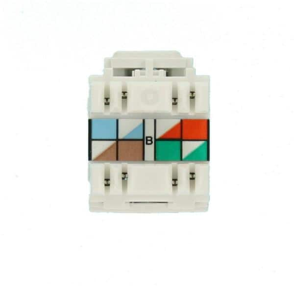 Leviton QuickPort Extreme CAT 6 Connector with T568A/B Wiring,  White-61110-RW6 - The Home DepotThe Home Depot