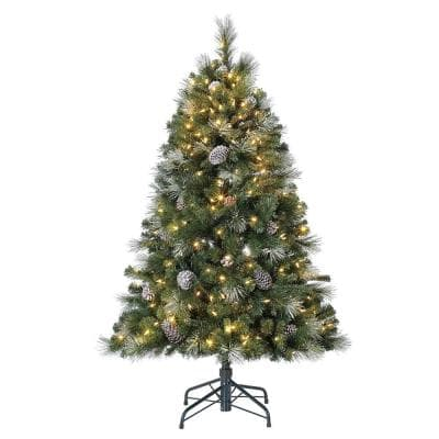 Lincoln 5 ft. 300 LED Bulb Christmas Tree with Pine Cones and Glitter