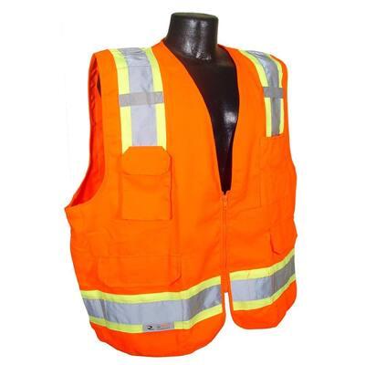 CL 2 Two-Tone Surveyor Orange Twill Large Safety Vest