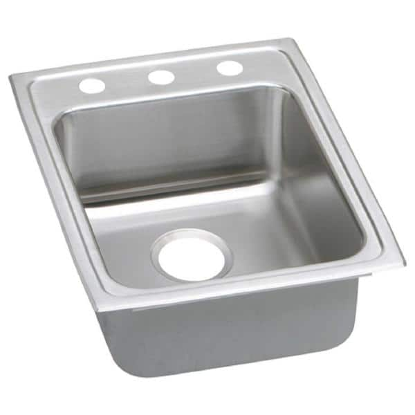 Elkay Lustertone Drop-In Stainless Steel 17 in. 3-Hole Single Bowl ADA Compliant Kitchen Sink with 5.5 in. Bowl   The Home Depot