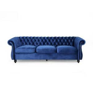 Sommerville Navy Blue Velvet 3-Seater Chesterfield Sofa with Flared Arms