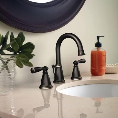 Banbury 8 in. Widespread 2-Handle Bathroom Faucet with Towel Ring in Mediterranean Bronze