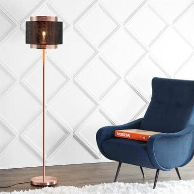 Tribeca 60.5 in. Metal LED Floor Lamp, Copper/Black