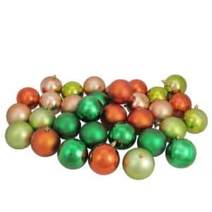 3.25 in. Xmas Green/Almond/Kiwi/Burnt Orange Shatterproof Christmas Ball Ornaments (32-Count)