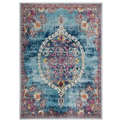 Rixos Collection Turquoise / Grey 5 ft. 3 in. x 7 ft. Distressed Medallion Design Vintage Area Rug
