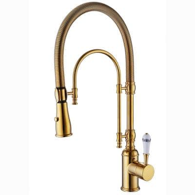 Single-Handle Spring Tube Pull-Down Sprayer Kitchen Faucet in Brushed Gold