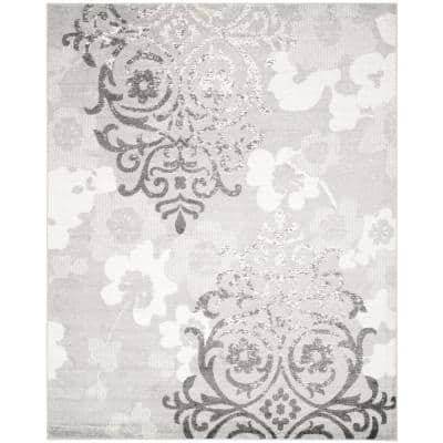 Adirondack Silver/Ivory 10 ft. x 14 ft. Floral Area Rug