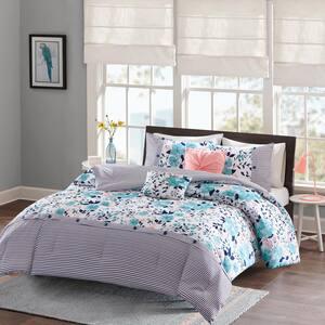Tiffany 5-Piece Blue Full/Queen Comforter Set