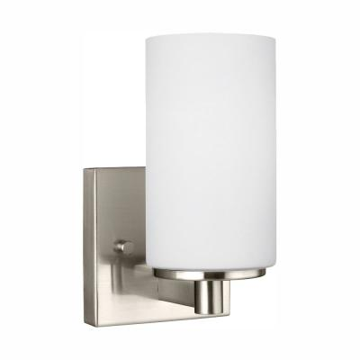 Hettinger 1-Light Brushed Nickel Sconce with LED Bulb