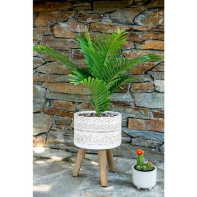 31 in. Artificial Palm Tree in 10 in. Tribal Fiberglass Pot on Stand