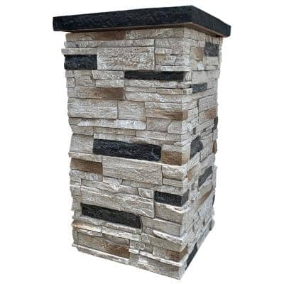 Country Ledgestone 30 in. x 16 in. Dover White Faux Polyurethane Stone Column Siding Wrap (4-Piece)