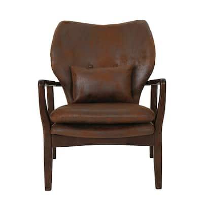 Haddie Mid-Century Modern Brown Microfiber Club Chair