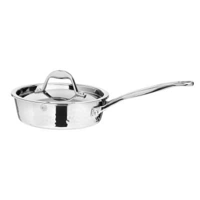 STERN 1 qt. Stainless Steel Saute Pan in Hammered Stainless Steel with Lid
