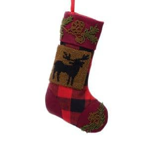 19 in. Polyester/Acrylic Plaid Christmas Stocking with Rug Hooked Reindeer