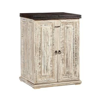 Margarita Pine Vintage White Bar Cabinet