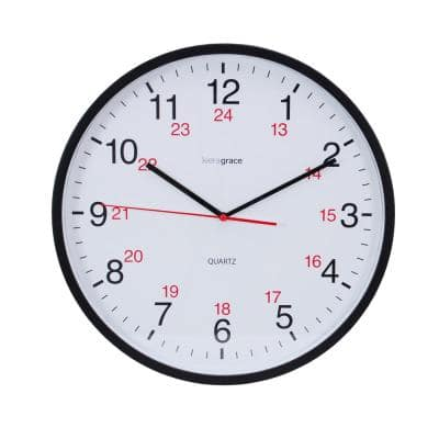 "kieragrace KG Synchro Silent Wall Clock - Black, 12"", Set of 6"
