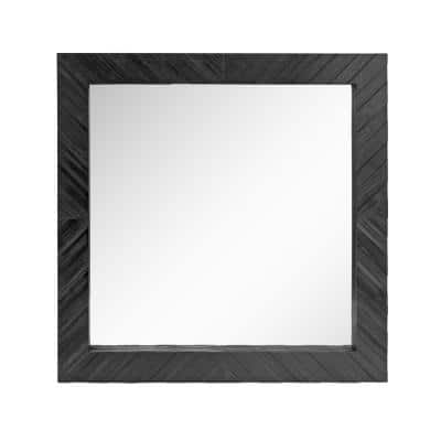20in x 20in Rustic Square Black Textured Wood Framed Accent Mirror
