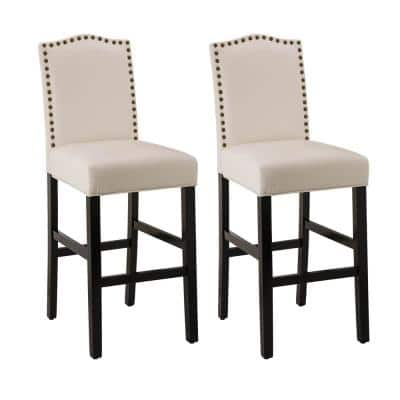 45.00 in. H Cream White Leatherette Barchair with Studded Decoration Back and Black Solid Rubberwood Legs (Set of 2)