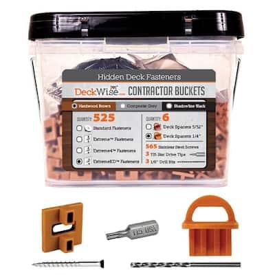 ExtremeKD Ipe Clip Brown Biscuit Style Hidden Deck Fastener Kit for Hardwoods (525-Bucket)