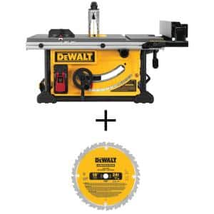 15 Amp Corded 10 in. Job Site Table Saw with Rolling Stand with Construction 10 in. 24-Teeth Thin Kerf Table Saw Blade