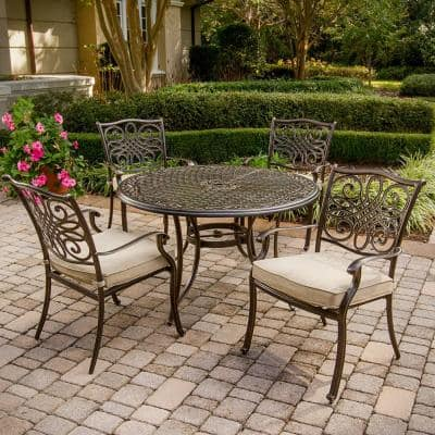 Traditions 5-Piece Patio Outdoor Dining Set with 4-Cast Aluminum Dining Chairs and 48 in. Round Table