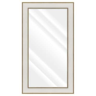 Large Rectangle Whitewash Beveled Glass Contemporary Mirror (55.5 in. H x 31.5 in. W)