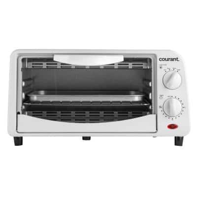4-Slice White Countertop Toaster Oven with Bake and Broil Functions and 30-Minute Timer