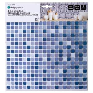 Self-Adhesive 6-Count Mini Square Subway Blue 10 in. x 10 in. Peel and Stick Wall Tiles 10 in. x 10 in.