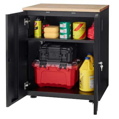 Heavy Duty Welded 20-GaugeSteel 2-Door Garage Base Cabinet in Black (28 in. W x32 in. H x 21.5 in. D)