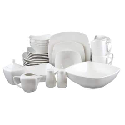 Zen 39-Piece Solid White Porcelain Dinnerware Set (Service for 6)