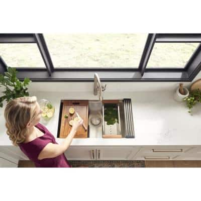 28 in. Single Bowl Undermount 16-Gauge Stainless Steel Ledge Kitchen Sink with Sliding Accessories
